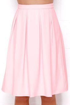 LULU'S - Oh, So Pretty Light Pink Midi Skirt -$48.00